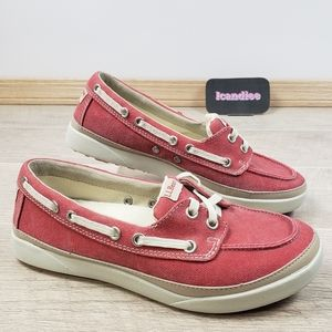 LL Bean Red Salt Washed Canvas Boat Shoes